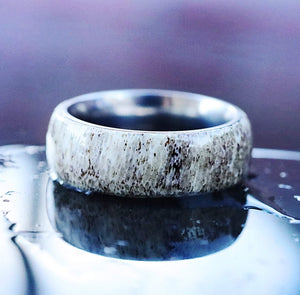 Open image in slideshow, everaftercreative Ring Deer Antler Ring, Domed Deer Antler Inlay Wedding Band, Titanium Deer Antler Ring for Men