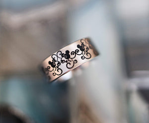 Open image in slideshow, everaftercreative Ring Disney Baroque Wedding Band, Mickey and Minnie Ring, Disney Castle Wedding Ring for Men and Women