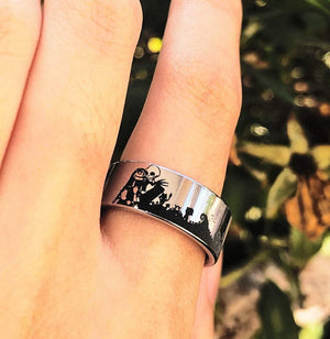 everaftercreative Ring Disney Engagement Ring, Jack and Sally Ring Nightmare Before Christmas Jack Skellington Wedding Band