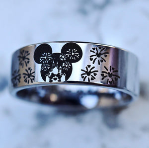 everaftercreative Ring Disney Engagement Ring, Mickey and Minnie Fireworks Wedding Band, Mickey Mouse Silhouette Ring
