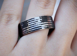 everaftercreative Ring Distressed American Flag Wedding Band, Military Wedding Ring, Army Wedding Band, US America Ring