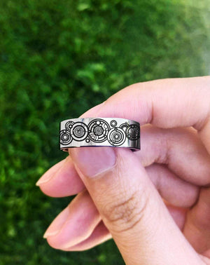 Open image in slideshow, everaftercreative Ring Doctor Who Wedding Ring, Together Forever Through Time and Space Ring, Gallifreyan Ring.