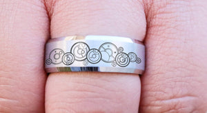 Open image in slideshow, everaftercreative Ring Dr. Who Couple Matching Ring Tungsten Band Gallifreyan Together Forever Through Time and Space Ring