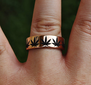 Ring - Engraved Weed Plant Pattern Ring, Marijuana Band, 420 Wedding Ring
