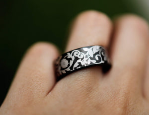 Open image in slideshow, everaftercreative Ring Filigree Wedding Band, Cherry Blossom Tungsten Wedding Ring, Sakura, Floral Leaf Wedding Band