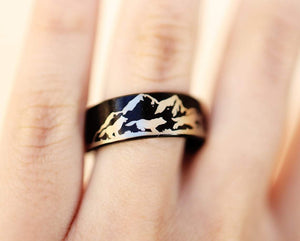 Open image in slideshow, everaftercreative Ring Howling Wolf Ring, Wolf Ring, Wolves Wedding Band, Wolf Ring, Wolf Pack Ring, Tungsten Carbide Ring.