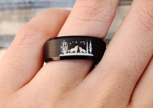 River Ring Nature Ring Wolf Engagement Ring fo rMen Mountain Wedding Band Matching Howling Wolves  Ring Forest Ring