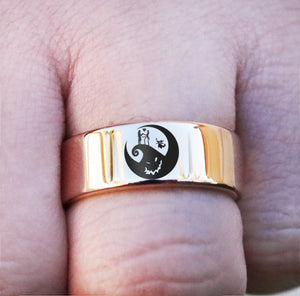 Open image in slideshow, everaftercreative Ring Jack and Sally Engagement Ring, Nightmare Before Christmas Wedding Band, Jack Skellington Wedding Ring, Disney Jack Sally Ring, Zero Ring.