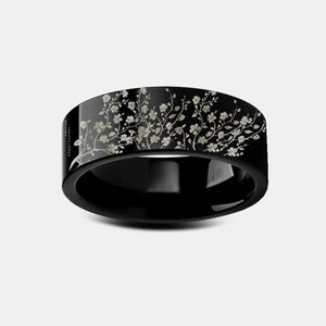 everaftercreative Ring Japan Flower Ring, Cherry Blossom Wedding Band, Cherry Blossom Tungsten Ring, Sakura, Floral Band.