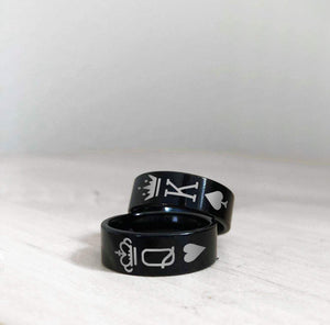 Open image in slideshow, everaftercreative Ring King and Queen Rings, 2 Piece Couple Rings Black Tungsten Bands with King Queen Crowns Wedding Rings.