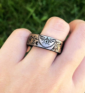 Open image in slideshow, everaftercreative Ring Legend of Zelda Tungsten His Hers Ring Triforce of Zelda, Link and Zelda Ring, Navi, Gamer Gift