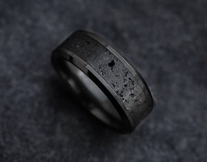 Open image in slideshow, everaftercreative Ring Mens Black Lava Wedding Ring, Lava Engagement Ring, Black Lava Inlay Ring, Real Lava.