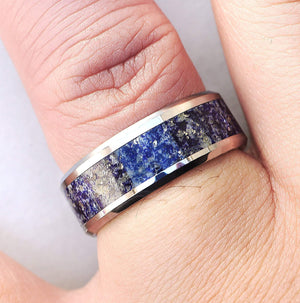 everaftercreative Ring Mens Lapis Engagement Ring, Blue Lapis Band, Lapis Lazuli Inlay, Lapis Lazuli Stone Inlay Ring - 8mm