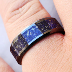 Open image in slideshow, everaftercreative Ring Mens Silver Lapis Wedding Band, Blue Lapis Ring, Lapis Lazuli Inlay Ring, Lapis Lazuli Ring - 8mm