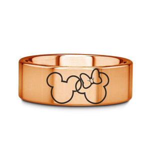 everaftercreative Ring Mickey and Minnie Mouse Infinity Wedding Band, Disney Ring, Disney Mickey and Minnie Wedding Ring