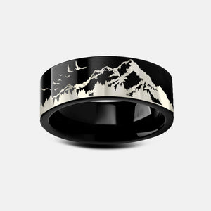 Open image in slideshow, everaftercreative Ring Mountain Ring, Forest Ring, Adventure Wedding Band Woman, Mountain Scene Ring, Nature Ring