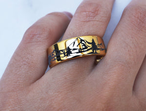 Open image in slideshow, everaftercreative Ring Mountain Ring, Forest Ring, River Ring, Howling Wolf Ring, Nature Ring, Wanderlust Wedding Band.