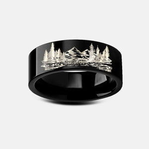 Open image in slideshow, everaftercreative Ring Mountain River Ring, Forest Ring, Hiking Ring, Howling Wolf Ring, Nature Wanderlust Wedding Band
