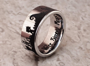 Open image in slideshow, everaftercreative Ring Nightmare Before Christmas Ring Jack Skellington Wedding Band Halloween Town Jack Sally Wedding Ring.