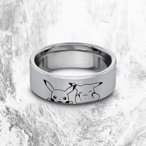 everaftercreative Ring Pikachu Couple Ring, Pokemon Ring, Pokemon Engraved Ring, Pokemon Wedding Band, Silver Tungsten.