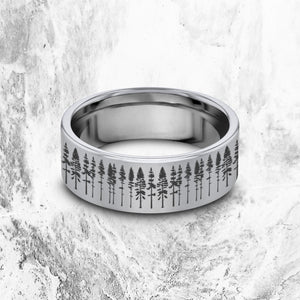 Open image in slideshow, everaftercreative Ring Pine Tree Wedding Ring, Forest Ring, Tree Nature Ring, Howling Wolf Ring, Nature Ring.