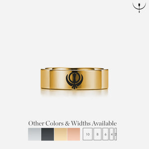Open image in slideshow, everaftercreative Ring Punjabi Sikh Sikhism Symbol Wedding Band, Sikh Khanda Engagement Ring, Religious Symbol Ring, Spiritual Symbol Ring,