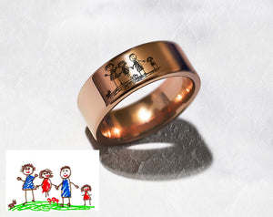 Open image in slideshow, everaftercreative Ring Real Kids Drawing Ring, Childs Drawing Ring, Custom Childrens Ring, Kids drawing jewelry