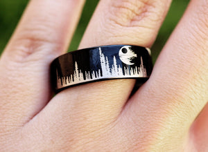 Open image in slideshow, everaftercreative Ring Star Wars Death Star Ring, Death Star Wedding Band,Princess Leia, Darth Vader Ring, Hoth Ring.