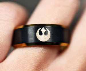Open image in slideshow, everaftercreative Ring Star Wars Engagement Ring, Rebel Alliance, Darth Vader Ring, Star Wars Wedding Band, Han Solo Ring