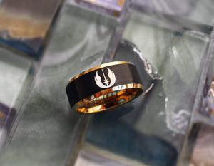 Open image in slideshow, everaftercreative Ring Star Wars Jedi Order Engagement Ring, Darth Vader Ring, Star Wars Wedding Band for Men