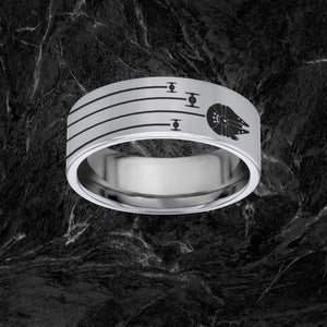 Open image in slideshow, everaftercreative Ring Star Wars Millenium Falcon Tie Fighters Millenium Wedding Band, Princess Leia, Darth Vader Ring