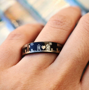everaftercreative Ring Super Mario and Super Mario Princess Wedding Ring, Super Mario Black Tungsten Wedding Band.