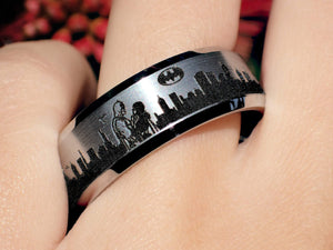 Open image in slideshow, everaftercreative Ring Superhero Wedding Band, Catwoman Engagement Ring, Batman Wedding Ring, Batman Jewelry.