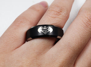 Open image in slideshow, everaftercreative Ring Superman Wedding Ring, Superman and Batman Logo Ring, Batman Engagement Ring