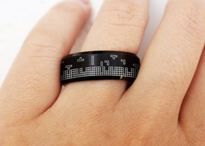 Open image in slideshow, everaftercreative Ring Tetris Video Game Wedding Band, 90s Gamer Ring, Tetris Jewelry.