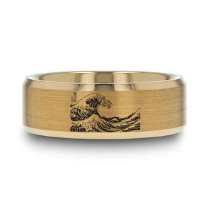 Open image in slideshow, everaftercreative Ring The Great Wave off Kanagawa, Kanagawa Beach Wave Gold Wedding Band, Waves Engagement Wedding Ring.