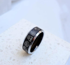 everaftercreative Ring The Last Airbender Avatar Elemental Symbol Wedding Band Earth Air Water Fire Ring Aang Korra Ring.
