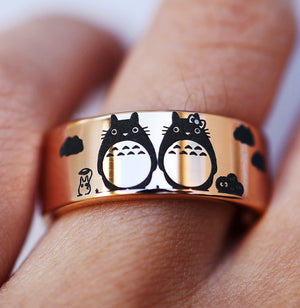 Open image in slideshow, everaftercreative Ring Totoro Couple Matching Promise Ring, Totoro Wedding Band, Studio Ghibli Wedding Ring
