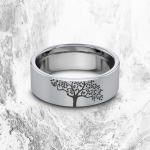 everaftercreative Ring Tree Wedding Band, Nature Ring, Forest Wedding Ring, Tree Nature Jewelry, Mountain Adventure Ring