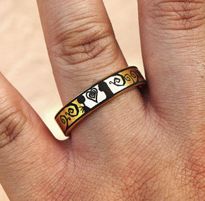 Ring - Womens Jack And Sally Ring, Tim Burton Themed Scene Ring, Jack And Sally Wedding Band, Tim Burton Wedding Ring