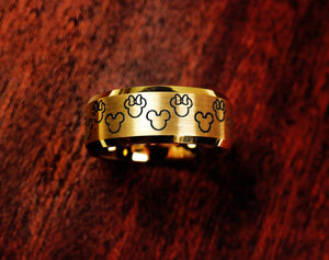 Open image in slideshow, Ring - Yellow Gold Plated Disney Matching Promise Ring, Disney Wedding Band, Mickey Minnie Wedding Band