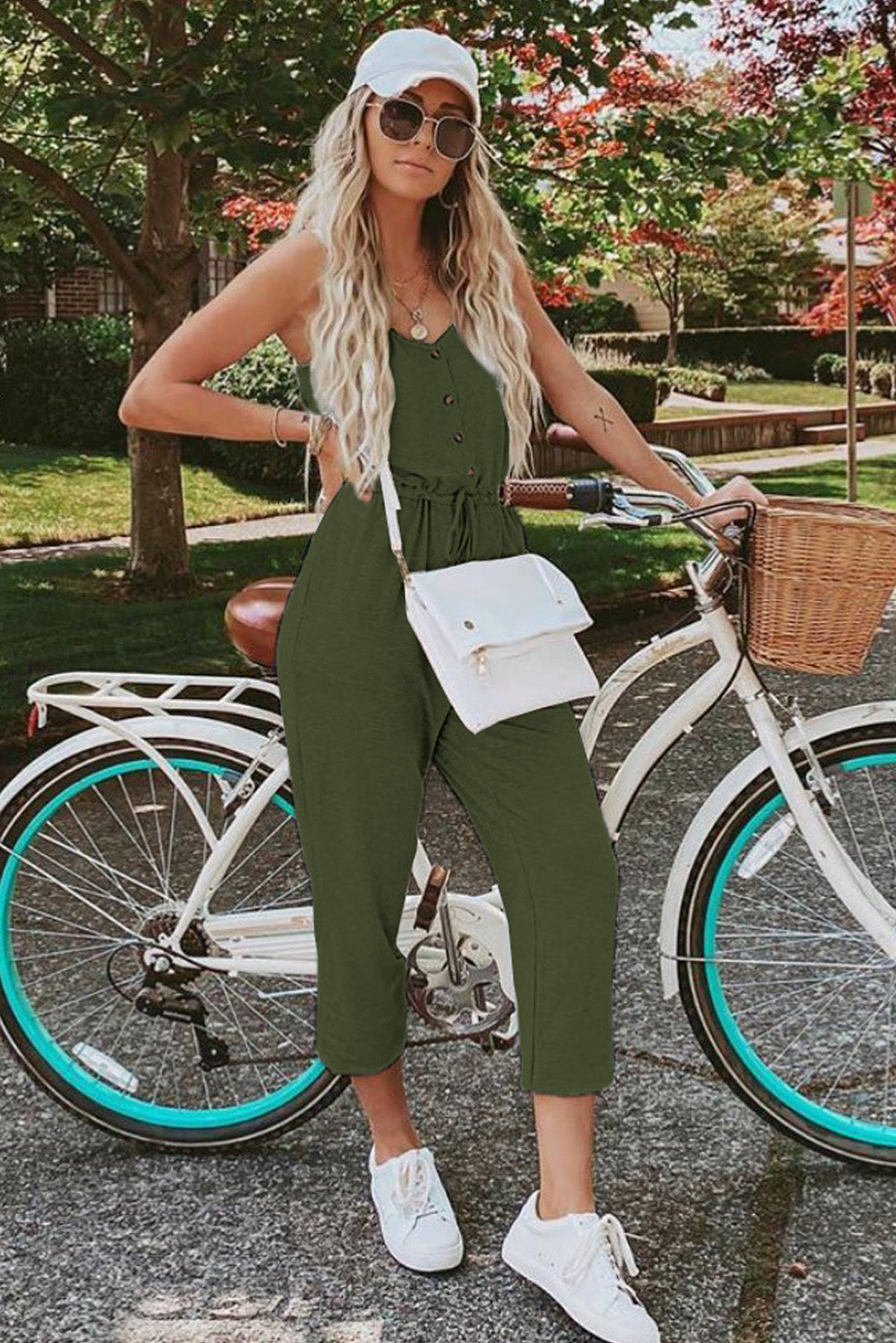 Green Pocketed Knit Jumpsuit
