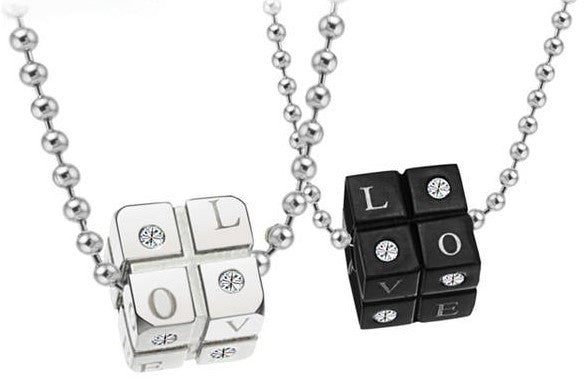 Love Dice Couples Necklace Set