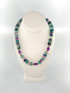 Fluorite and Natural Amethyst Necklace