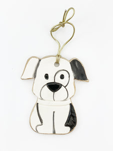 Black Ceramic Puppy Dog Christmas Ornament