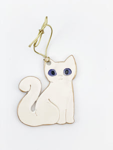 White Ceramic Cat Christmas Ornament edged in gold
