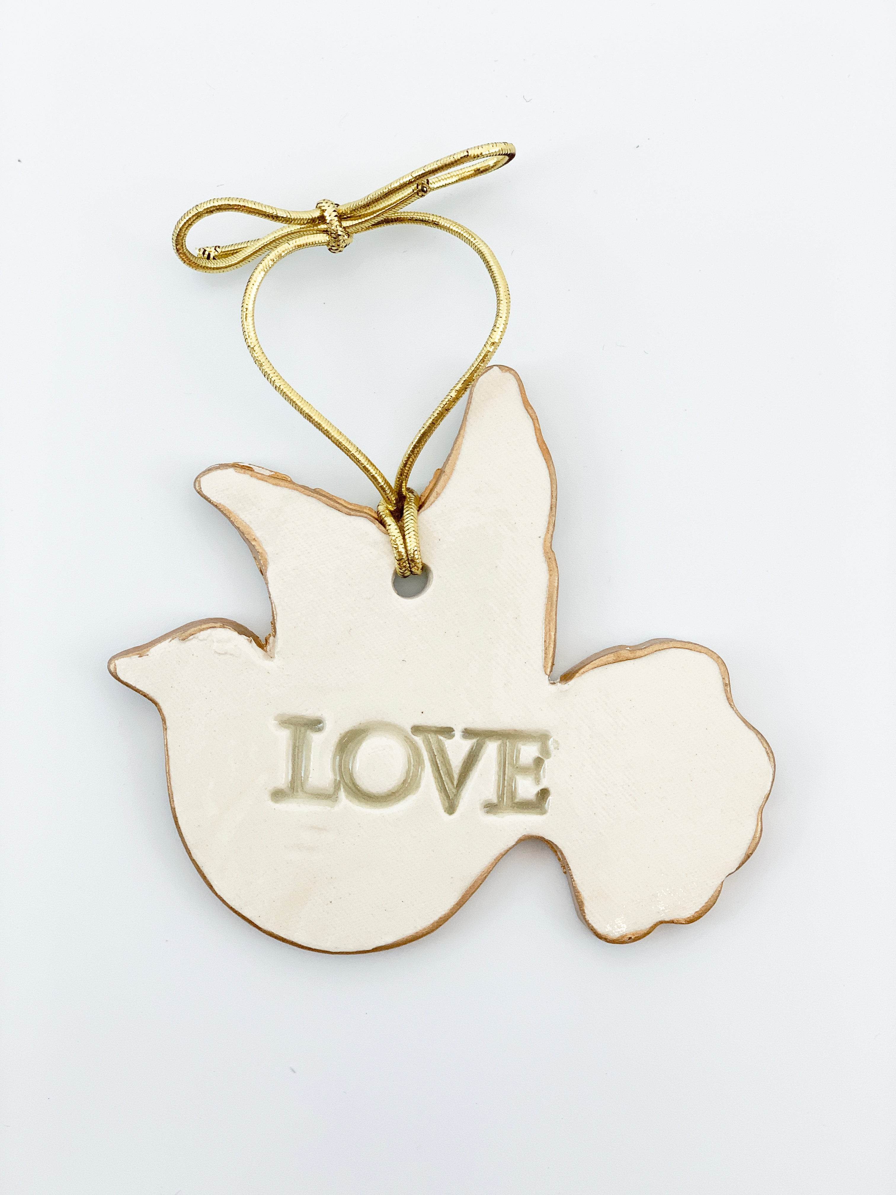 LOVE Ceramic Dove Christmas Ornaments edged in gold