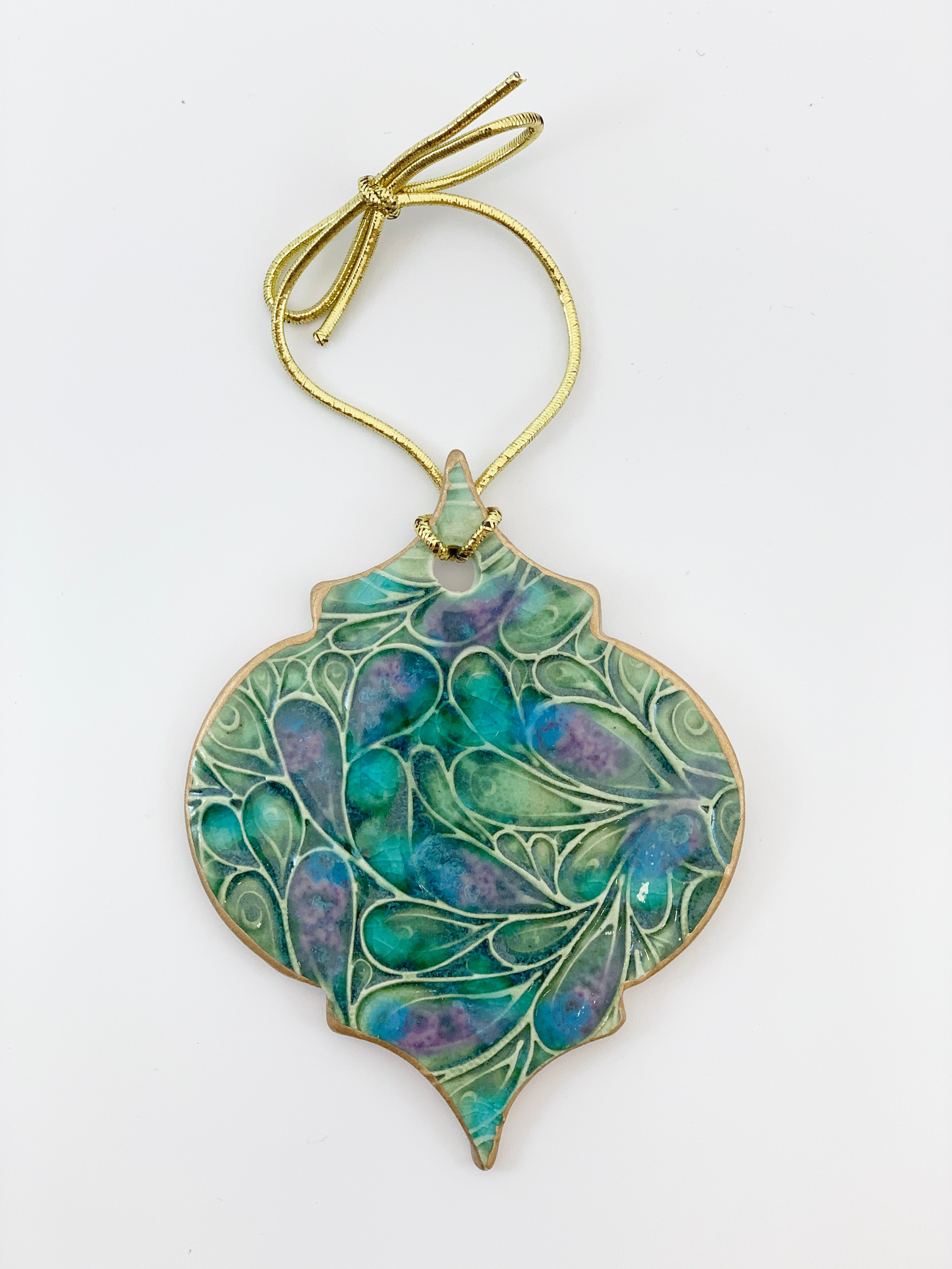 Peacock Green Christmas Ornament edged in gold
