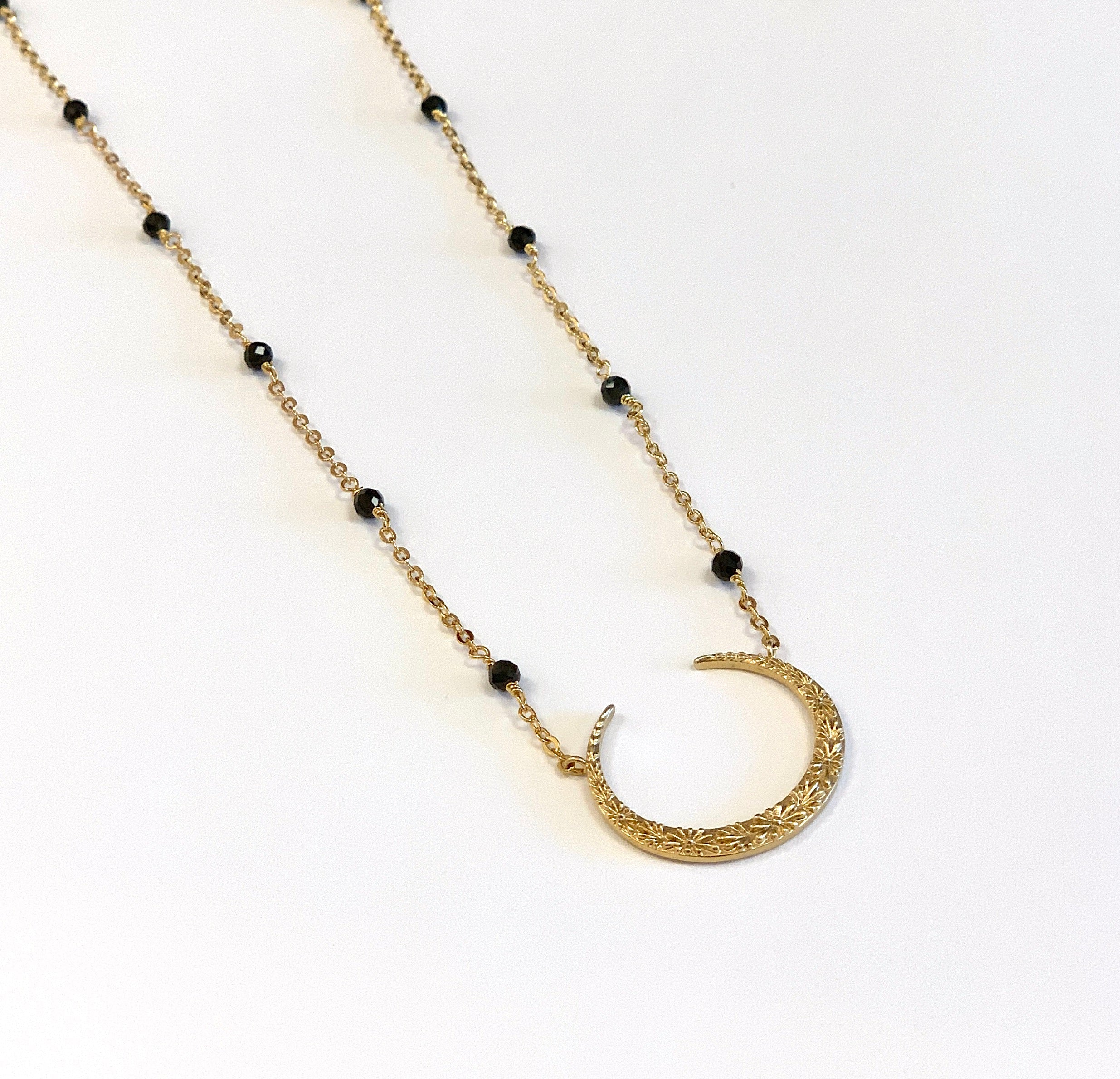 Flower Crescent Necklace with Black Spinels