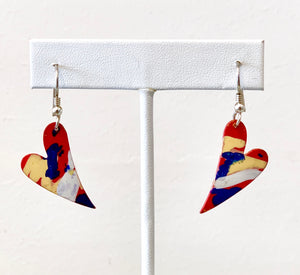 Colorful Offset Heart Earrings